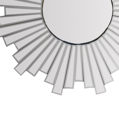 28 Round Floating Wall Mirror with Sunburst Design Frame Silver By The Urban Port UPT-226281