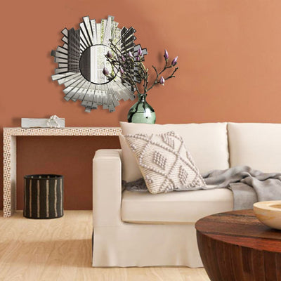 "28"" Round Floating Wall Mirror with Sunburst Design Frame, Silver By The Urban Port"