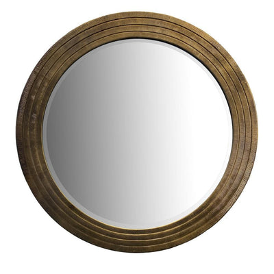 Round Layered Wooden Frame Decor Wall Mirror with Hand Carved Texture Brown By The Urban Port UPT-228539