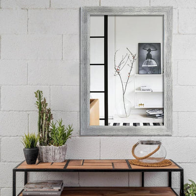 Rectangular Polystyrene Encased Wall Mirror with Textured Details Chrome By The Urban Port UPT-228546