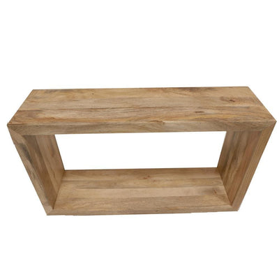 52 Inch Cube Shape Mango Wood Console Table with Bottom Shelf Natural Brown By The Urban Port UPT-228692