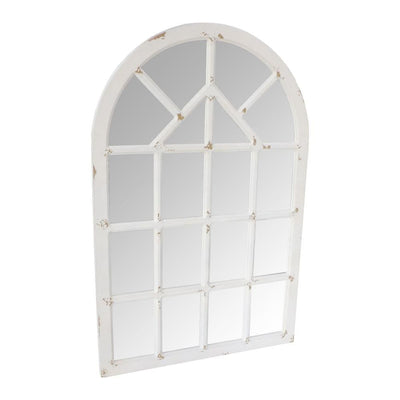 Arched Farmhouse Windowpane Wood Encased Wall Mirror Antique White By The Urban Port UPT-228701
