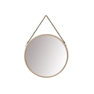 Round Metal Frame Wall Mirror with Hanging Rope Antique Brass By The Urban Port UPT-228702