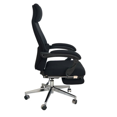 Position Lock Ergonomic Swivel Office Chair with Fabric Seat and Retractable Footrest Black By The Urban Port UPT-230096