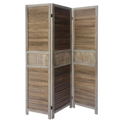 3 Panel Foldable Wooden Divider Privacy Screen with Grains and Metal Hinges Brown and Gray By The Urban Port UPT-230657