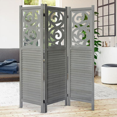 3 Panel Wooden Divider Privacy Screen with Scrolled Cut Out and Shutter Design Distressed White By The Urban Port UPT-230660