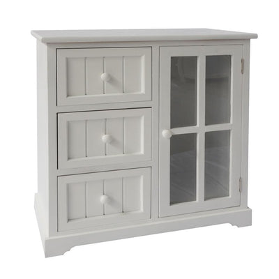23.62 3-Drawer Wooden Storage Cabinet with Glass Door and Round Knobs White By The Urban Port UPT-230665