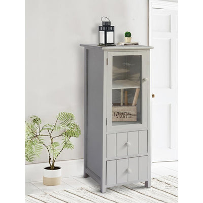 35.58 2-Drawer Wooden Storage Cabinet with Glass Door and Round Knobs White By The Urban Port UPT-230667