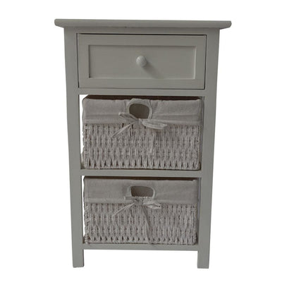 24.80 Single Drawer Wooden Storage Cabinet with 2 Cotton Paper Baskets White By The Urban Port UPT-230672