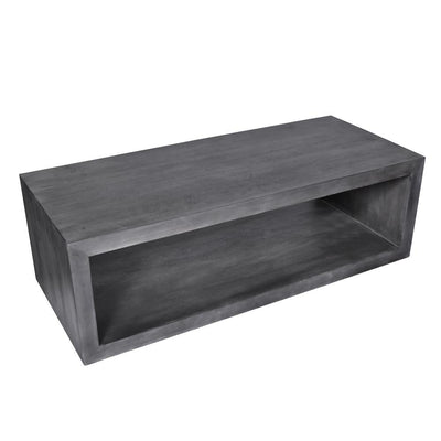58 Cube Shape Wooden Coffee Table with Open Bottom Shelf Charcoal Gray By The Urban Port UPT-230676