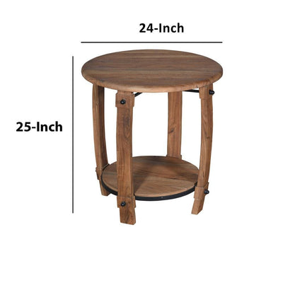 24 Retro Style Round Wooden End Side Accent Table with Bottom Shelf Natural Brown By The Urban Port UPT-230854