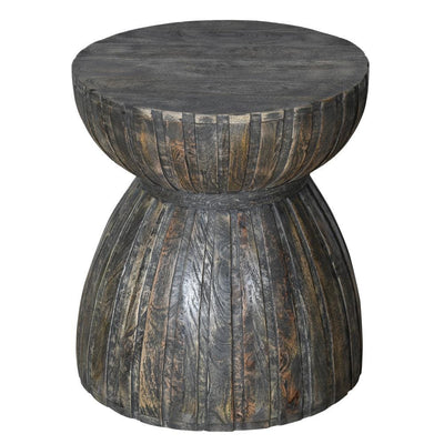 20 Hourglass Shape Mango Wood End Side Table in Plank Style Brown By The Urban Port UPT-230856