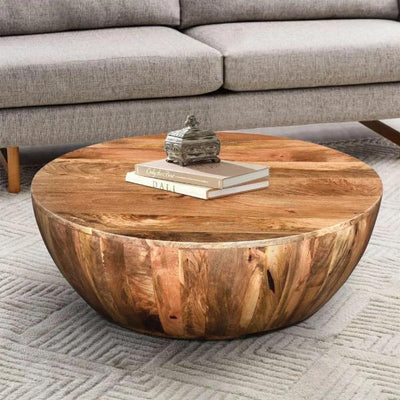 Mango Wood Coffee Table In Round Shape,Dark Brown By The Urban Port