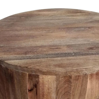 Handcarved Cylindrical Shape Round Mango Wood Distressed Wooden Side End Table Brown By The Urban Port UPT-32183