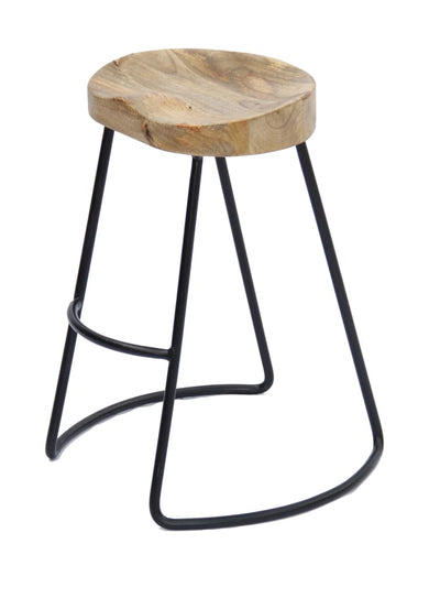 Wooden Saddle Seat Barstool with Metal Legs Large Brown and Black by The Urban Port UPT-37900