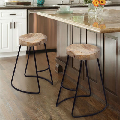 Wooden Saddle Seat Barstool with Metal Legs, Large, Brown and Black by The Urban Port