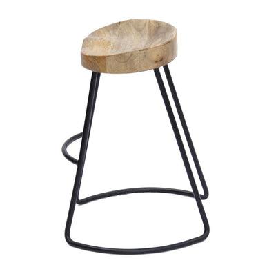 Wooden Saddle Seat Barstool with Metal Legs Small Brown and Black By The Urban Port UPT-37910