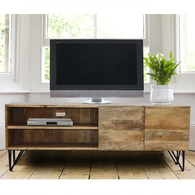 Industrial Style Mango Wood and Metal Tv Stand With Storage Cabinet, Brown By The Urban Port
