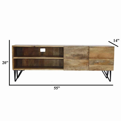 Industrial Style Mango Wood and Metal Tv Stand With Storage Cabinet Brown By The Urban Port UPT-38930