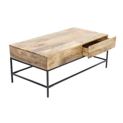Mango Wood Coffee Table With 2 Drawers Brown and Black By The Urban Port UPT-39290