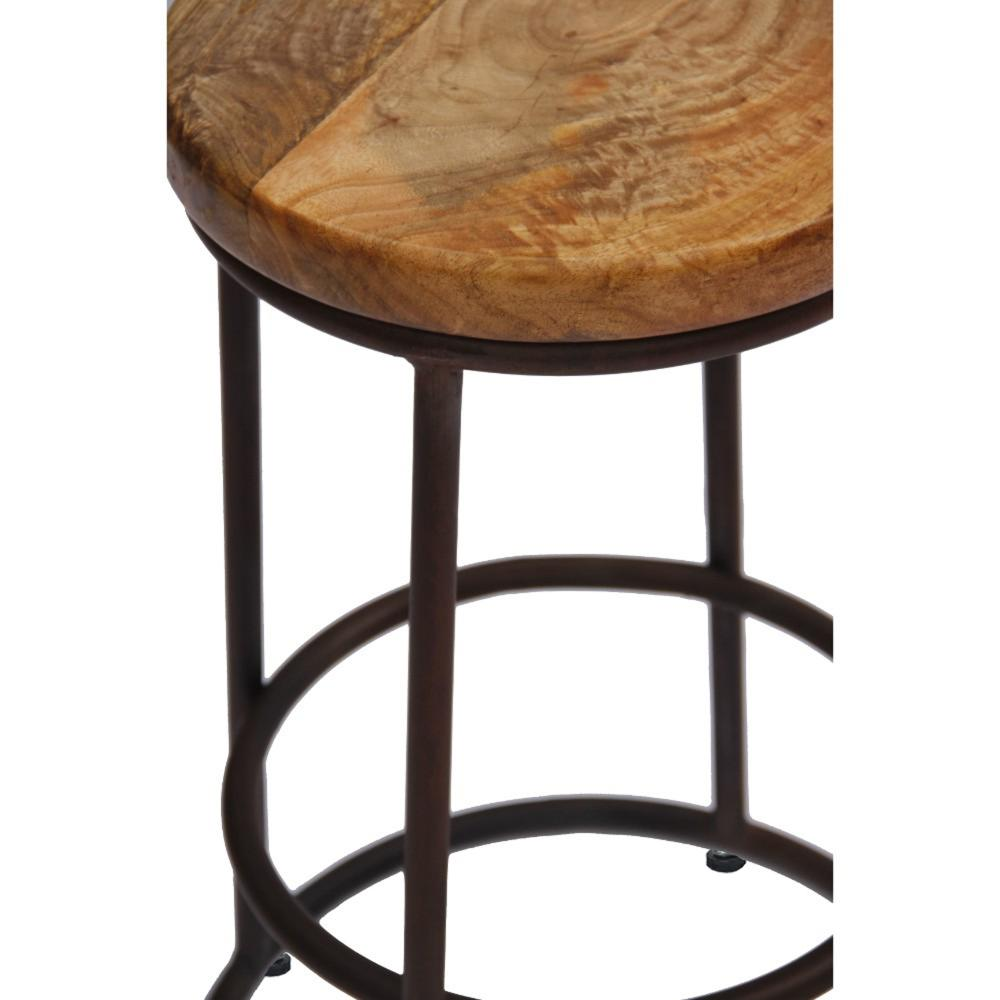 24 Inch Acacia Wood Counter Height Barstool With Iron Base, Brown And Black By The Urban Port