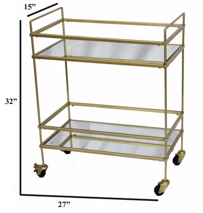 Modern Style Tubular Iron Bar Cart with 2 Mirrored Shelves Gold By The Urban Port UPT-71700
