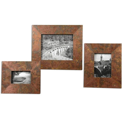 Ambrosia Copper Photo Frames Set 3 By Uttermost
