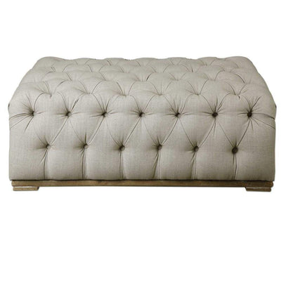 Kaniel Tufted Antique White Ottoman By Uttermost