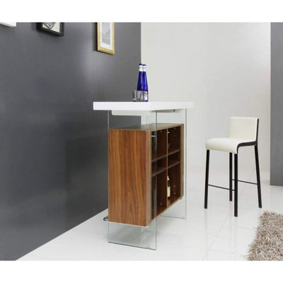 Contemporary Style Wooden Floating Bar Table with Side Glass Panels, White And Brown