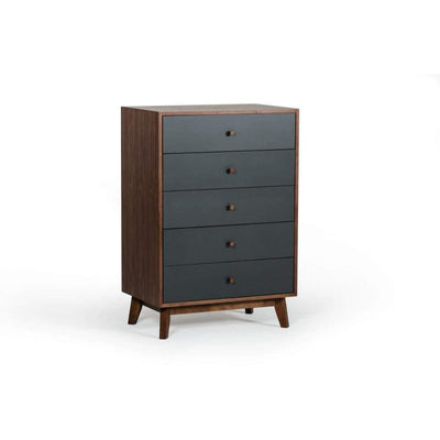 Spacious Five Drawers Wooden Chest with Flared Legs, Brown and Gray