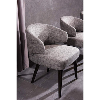 Fabric Upholstered Wooden Dining Chair with Wingback Design, Black and Gray
