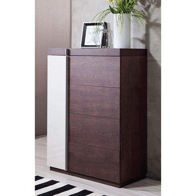 Modern Dual Tone Chest with Four Spacious Drawers, Brown and White