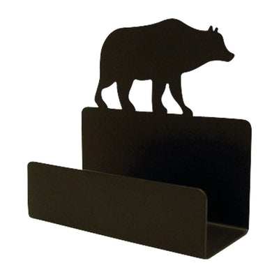 Card Holder with Metal Body and Bear Accent, Black - BCH-14