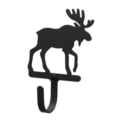 Metal Wall Hook with Moose Accent, Small, Black - WH-19-S