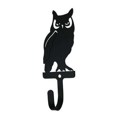 Metal Wall Hook with Owl Accent, Small, Black - WH-224-S