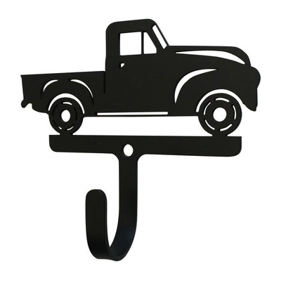 Metal Wall Hook with Antique Truck Accent, Small, Black - WH-325-S