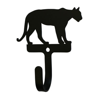 Metal Wall Hook with Mountain Lion Accent, Small, Black - WH-341-S