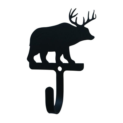 Metal Wall Hook with Reindeer Accent, Small, Black - WH-353-S