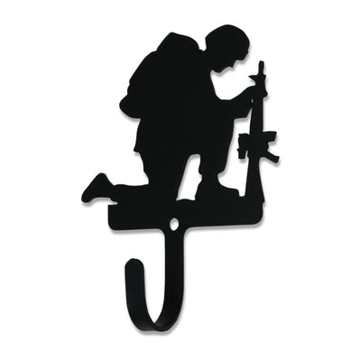 Metal Wall Hook with Kneeling Soldier Accent, Small, Black - WH-373-S