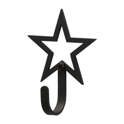 Wall Hook with Open Star Design Accent, Extra Small, Black - WH-50-XS