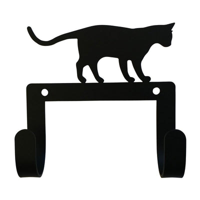 Wall Hook with Metal Standing Cat Accent, Black - WH-LC-247