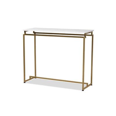 Renzo Modern and Contemporary Brushed Gold Finished Metal Console Table with Faux Marble Tabletop