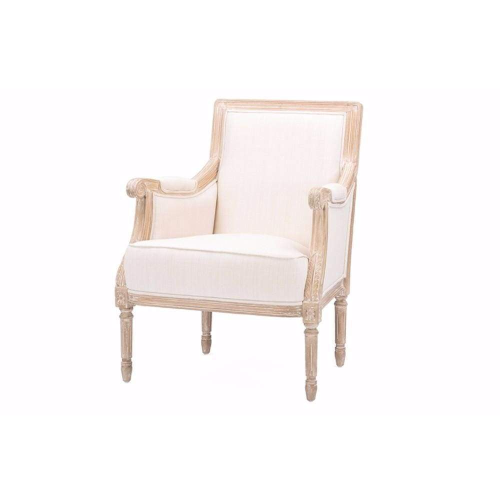 Chavanon Wood & Light Beige Linen Traditional French Accent Chair By Baxton Studio