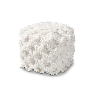 Baxton Studio Asuka Moroccan Inspired Ivory Handwoven Cotton Fringe Pouf Ottoman