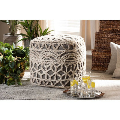 Baxton Studio Avery Moroccan Inspired Beige and Brown Handwoven Cotton Pouf Ottoman WHI-Avery-Natural-Ivory-Pouf
