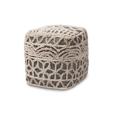 Baxton Studio Avery Moroccan Inspired Beige and Brown Handwoven Cotton Pouf Ottoman