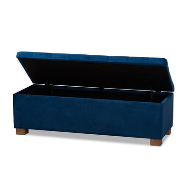 Contemporary Navy Blue Velvet Fabric Upholstered Grid-Tufted Storage Ottoman Bench WHI-BBT3101-Navy-Velvet-Walnut-Otto