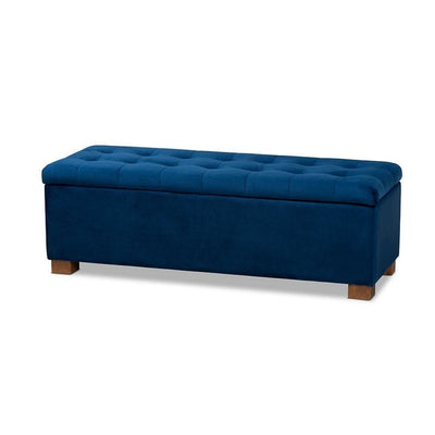 Contemporary Navy Blue Velvet Fabric Upholstered Grid-Tufted Storage Ottoman Bench