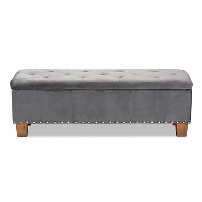 Hannah Modern and Contemporary Grey Velvet Fabric Upholstered Button-Tufted Storage Ottoman Bench WHI-BBT3136-Grey-Velvet-Walnut-Otto