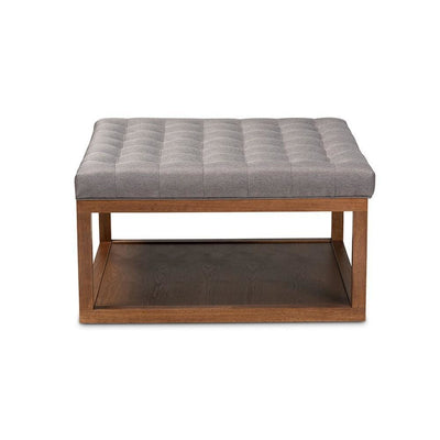 Alvere Modern and Contemporary Grey Fabric Upholstered Walnut Finished Cocktail Ottoman WHI-BBT5365-Grey-Walnut-Otto